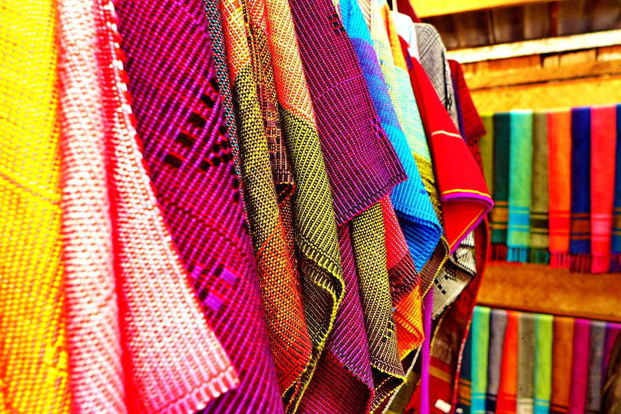 Colorful of thai native fabric in Chiangmai, Thailand